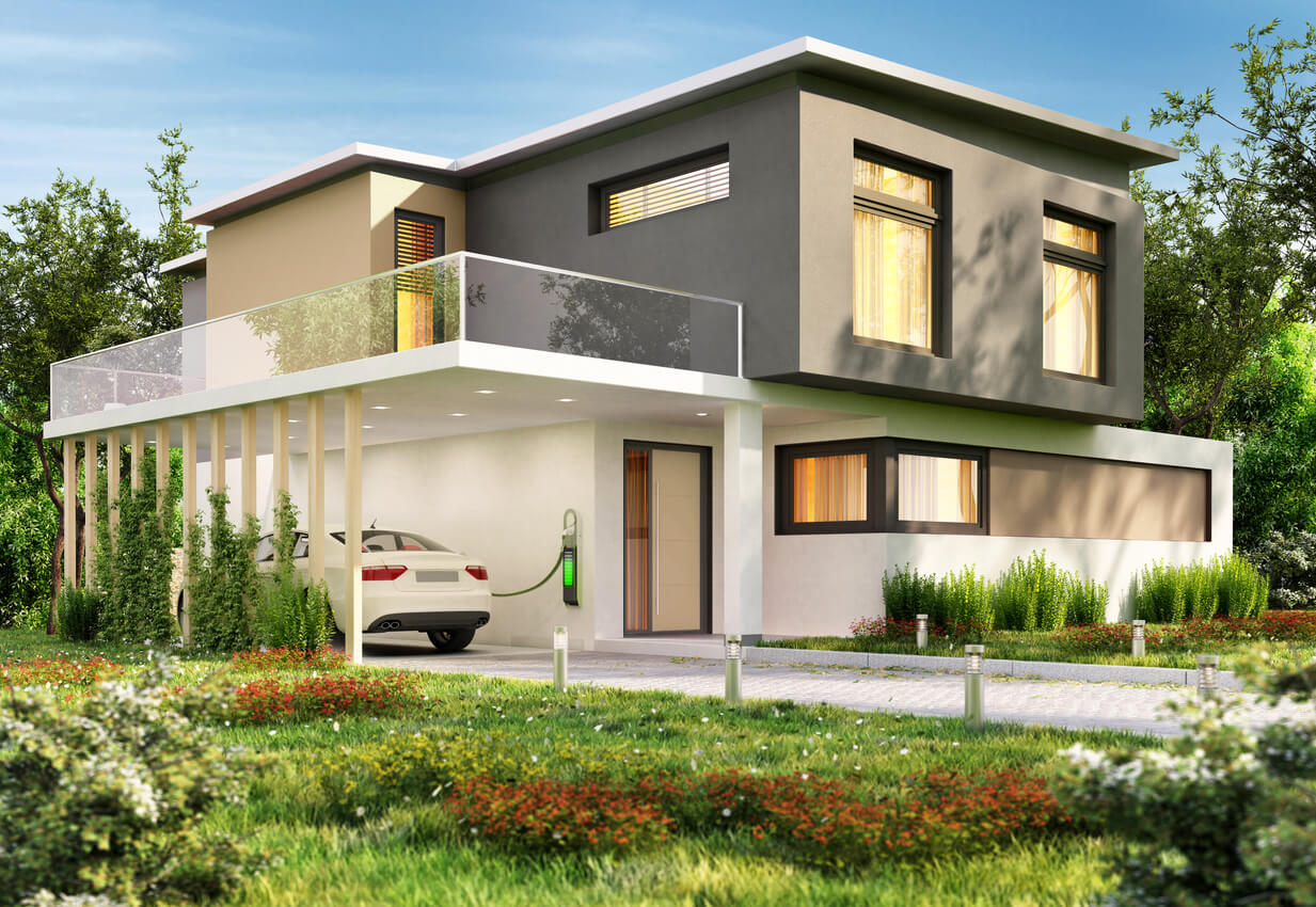 Luxury Big Modern House and Electric Car